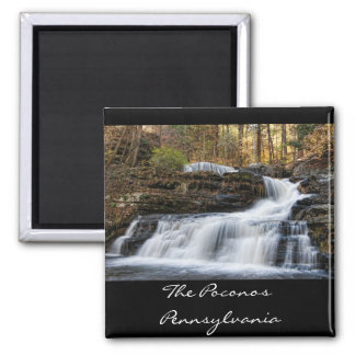 Factory Falls in the Poconos Square Magnet