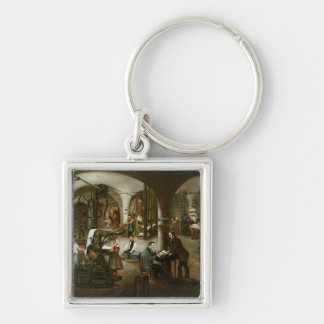 Factory in the Rue d'Aubagne, 1861 Silver-Colored Square Key Ring