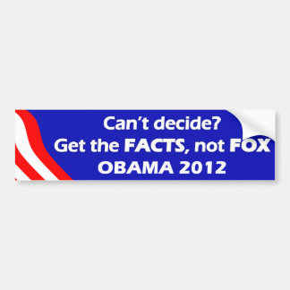 FACTS not FOX 2012 Bumper Sticker