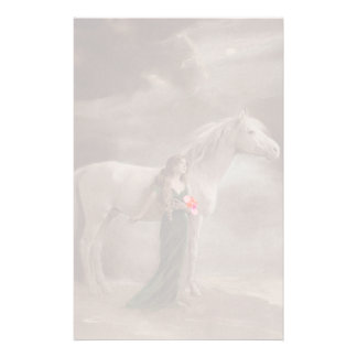 Fade Lite Image Nostalgic Antique Lady & Horse pet Stationery