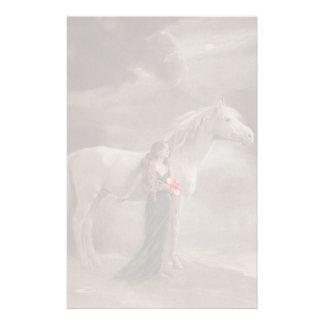 Fade Lite Image Nostalgic Antique Lady & Horse pet Stationery Paper