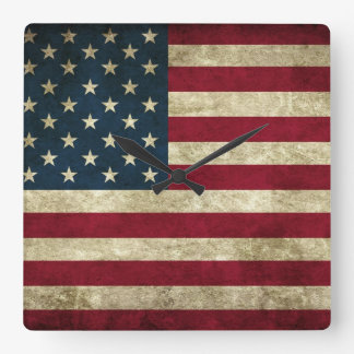 faded and grungy american flag square wallclocks