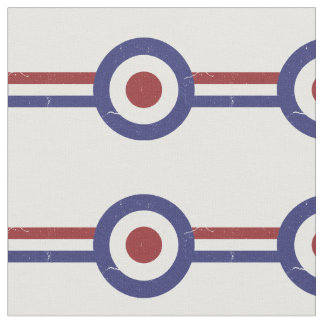 Faded and weathered Mod target and racing stripes Fabric