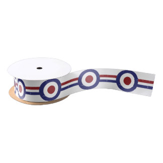 Faded and weathered Mod target and racing stripes Satin Ribbon