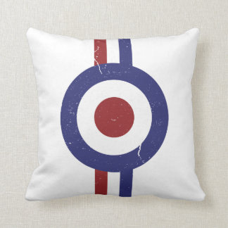 Faded and weathered Mod target Throw Cushion