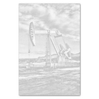 "Faded Black and White Oilfield Pumping Unit 10"" X 15"" Tissue Paper"