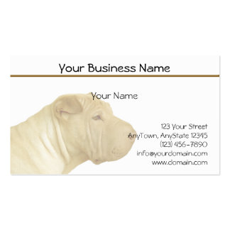 Faded Blonde Shar Pei Portrait on White Business Card Template