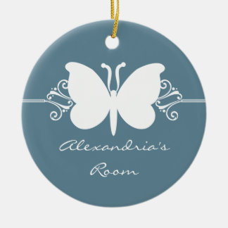 Faded Blue Butterfly Swirls Door Hanger Ornament