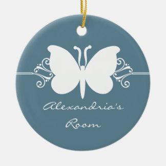 Faded Blue Butterfly Swirls Door Hanger Ornament