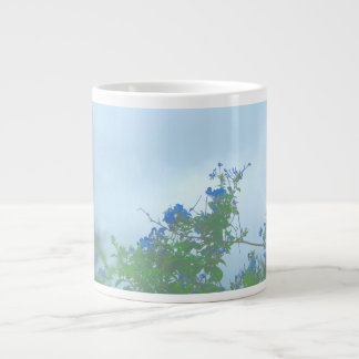 faded blue flowers green stems extra large mug