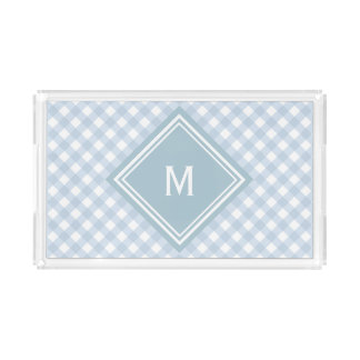 Faded Blue Gingham with Diamond Monogram Acrylic Tray