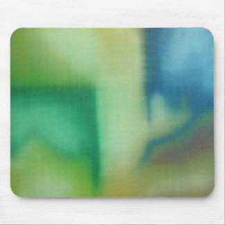 Faded Blue & Green Abstract Oil Painting Mouse Pad