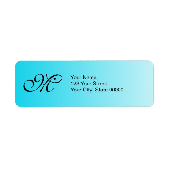 Faded Blue Monogram Return Address Label