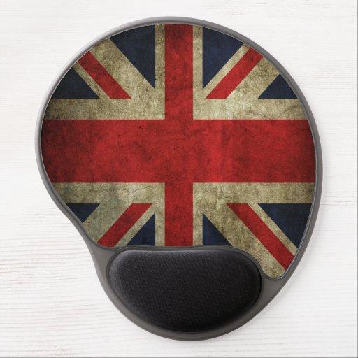 Faded British Union Jack UK Flag Old Antique Gel Mousepads