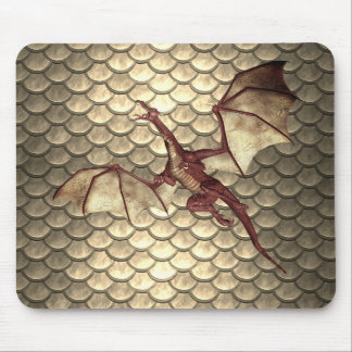 Faded Bronze Dragon Scale Fantasy Mouse Pad