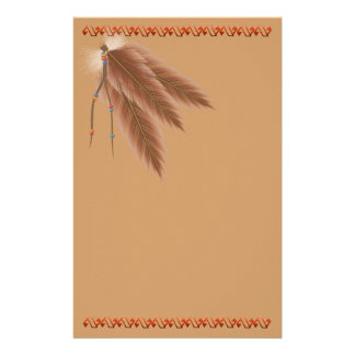Faded Brown Feathers Stationery