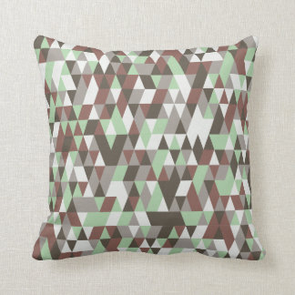 Faded Brown Green Polygons Pattern Throw Pillow