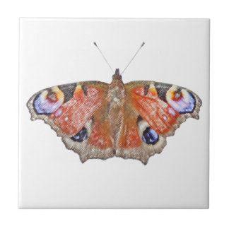 faded butterfly small square tile