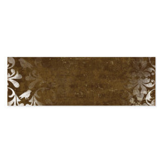 Faded Chic Brown White Vintage Damask Pattern Business Cards