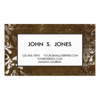 Faded Chic Brown White Vintage Damask Pattern Business Card Template
