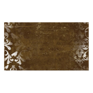 Faded Chic Brown White Vintage Damask Pattern Business Card