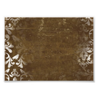 Faded Chic Brown White Vintage Damask Pattern Photo Print