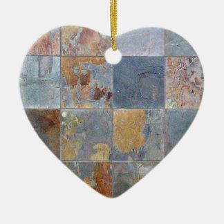 Faded chipping blue orange brick tiles ceramic heart decoration