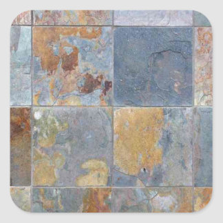 Faded chipping blue orange brick tiles square sticker
