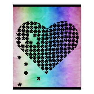 Faded Colors Puzzle Heart Poster