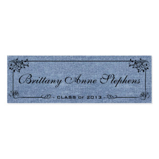 Faded Denim Graduation Name Card Insert Pack Of Skinny Business Cards