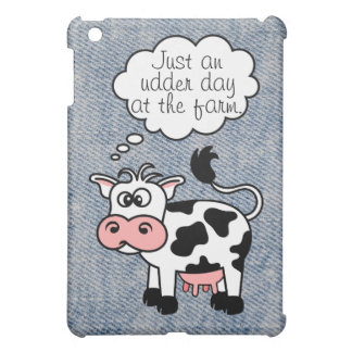 Faded Denim With Silly Cartoon Cow Thinking Cover For The iPad Mini