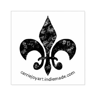 Faded Distressed Damask Fleur de Lis Stamp