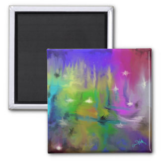 Faded Fireworks Digital Abstract Square Magnet