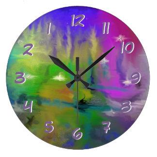 Faded Fireworks Turn Back the Time Backwards Large Clock
