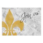 Faded Fleur de Lis Newspaper New Orleans Invite
