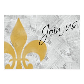 Faded Fleur de Lis Newspaper New Orleans Invite