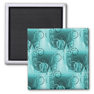Faded Floral Swirl Teal Turquoise Blue Girly Gifts Fridge Magnet
