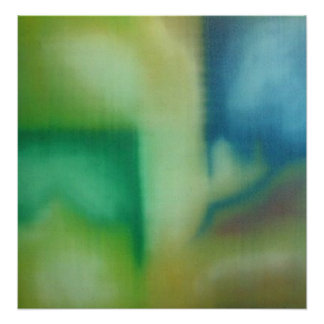 Faded Green & Blue Abstract Oil Painting Poster