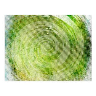 Faded Green Hypnotic Swirl Art Postcard