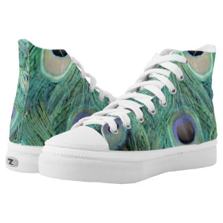 Faded Green Peacock Feathers High Tops