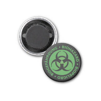 Faded Green Trilingual Biohazard Warning 3 Cm Round Magnet