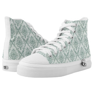 Faded green vintage damask pattern high tops