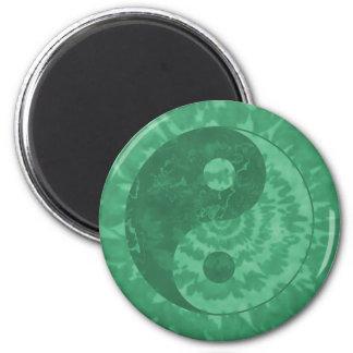 Faded Green Yin Yang Symbol 6 Cm Round Magnet