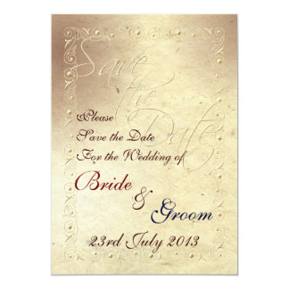 Faded Ivory Embossed Effect Wedding Save the Date Card