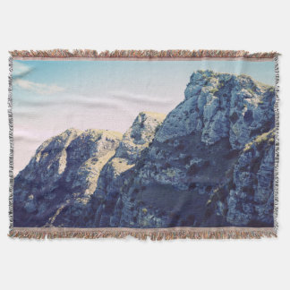 Faded Landscape Nature Mountains Throw Blanket