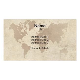 Faded Parchment World Map Pack Of Standard Business Cards