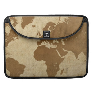 Faded Parchment World Map Sleeve For MacBook Pro