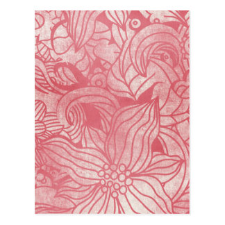 faded pink flowers collage postcard