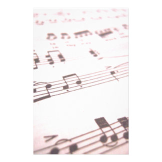 Faded Pink Sheet Music Stationery Paper