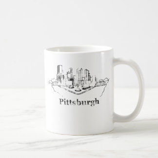 Faded Pittsburgh City Skyline Logo Coffee Mug